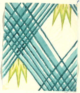 Blue weave motif over lime leaves on white ground.