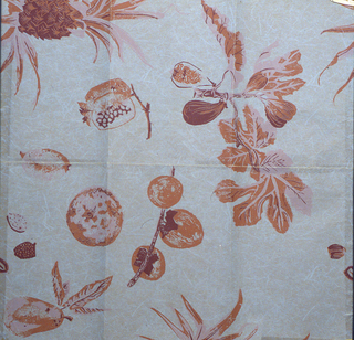 Fruit and foliage printed in shades of mauve on a gray background simulating Japanese paper.