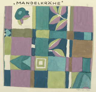 Checkered ground in purple, teal, brown, and green tones with contrasting geometric and floral forms.