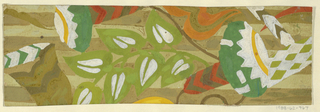Large pattern of flowers and leaves in green, brown, gold, purple, light gray on ground of yellow and lavender horizontal stripes.