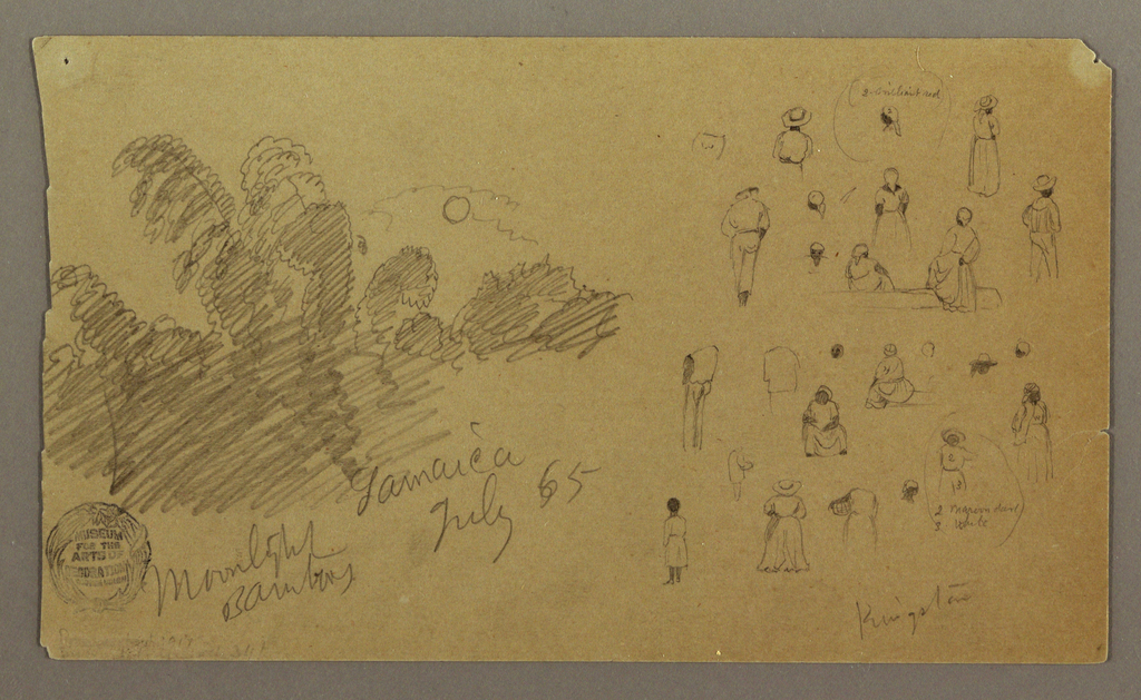 Drawing, Sketch of Moonlight Bamboo and Figures in Kingston, Jamaica, July 1865