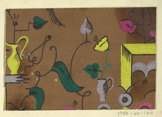 Pattern of scattered objects in yellow, lavender, pink, dark green; ewers and cups on shelf-like units, stick figures, outlines, shading and stems in black, on brown background.