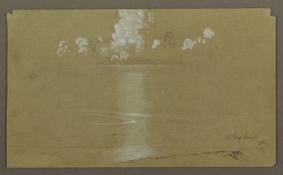 Drawing, Seascape, Bloxburgh; Verso: Hills and Sea, August 1865