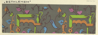 Pattern of scattered objects in lime, brown, pink and blue; ewers and cups on shelf-like units, stick figures, outlines, shading and stems in brown, on moss background.