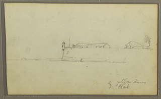 Drawing, A Fort; Verso: Botanical Sketches, House, 1857