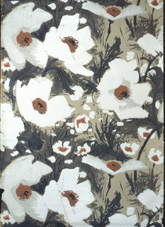 Large-scale white poppies printed on gray ground.