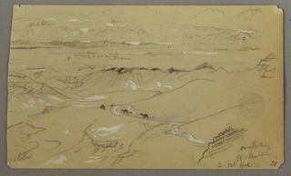 Recto: Continuation of the scene represented in -467. The right bank of a valley leading toward the plain beyond is shown in the foreground and middle ground. Two dromedaries are shown on a road. Inscribed: 2 / dark blue / snow / brown / black h… / greener / yellow.  Bottom right: overlooking / El Arabah / 2 Mt. Hor.  Verso: Oblique view of a rock wall. Bottom right: El Yemen.