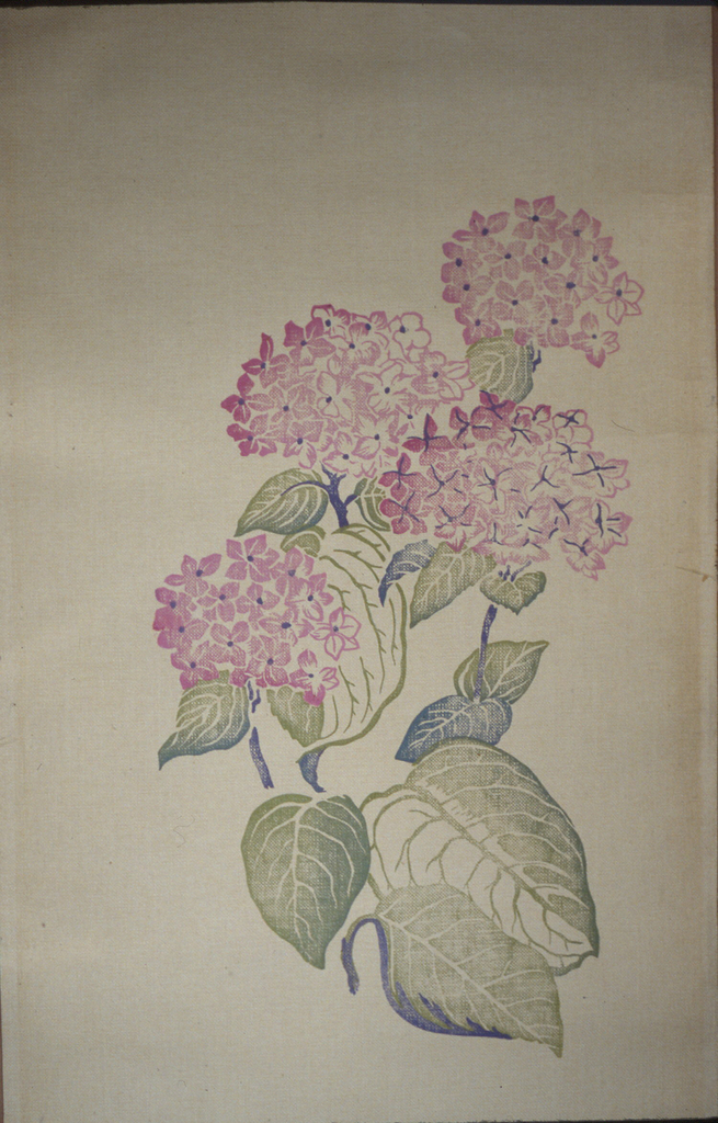 Large-scale hydrangea blossoms in pink with blue and green leaves, printed on paper backed bast.