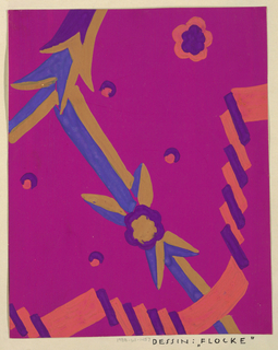 On fuchsia ground, partial view of pattern design with geometric and biomorphic forms in blue, ochre, purple, and pink.