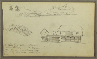 Drawing, Landscape, Tree tops, house, 1857