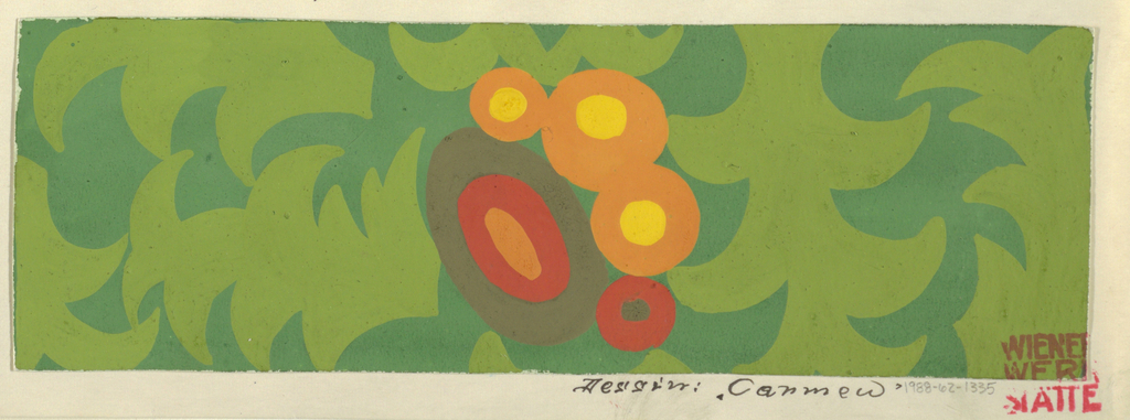 On dark green ground, abstract floral motif at center composed of a group of concentric ovals and circles in red, yellow, and orange. Throughout, leafy forms in light green.