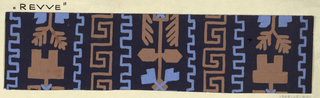 Dark brown ground with with greek key motif in light brown with a toothed border in blue, alternating with angular leaf motifs in blue and light brown.