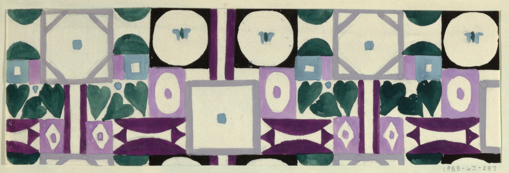 Abstract pattern of octagons, circles, squares and semi-circles alternating with heart-shaped leaves in green and  lavender.
