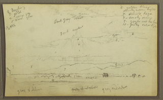 Drawing, Landscape; Verso: Houses, Canoe, 1857