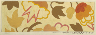 Pattern of flowers with scalloped petals and spiky petals; some only outlined and others solid, in mustard yellow, brown, ochre, and salmon on a beige ground.
