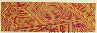 Pattern of concentric shapes—hexagons and triangles—and floral motifs in orange, magenta, yellow and blue on tan ground.