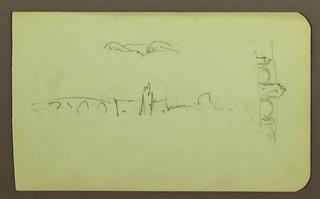 Drawing, hills, church, bridge; Verso: figure, cross, church, 1883