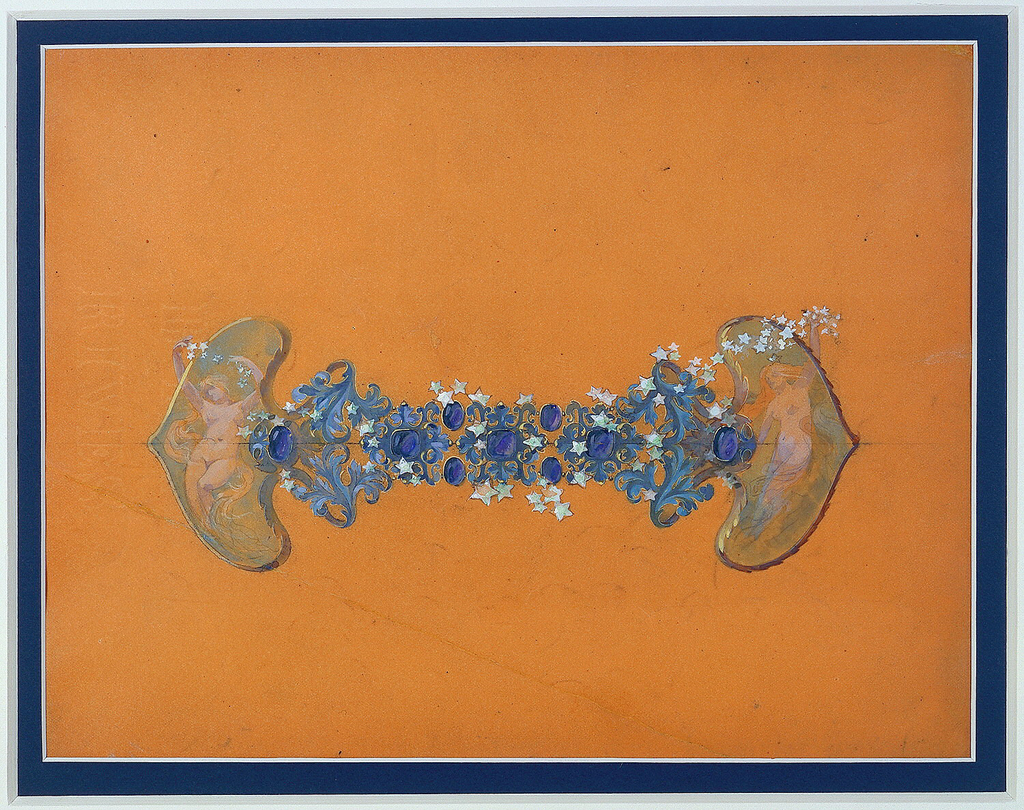 On framing plaques, two nudes, personifications of Night, toss showers of stars into sky.  In central portion, nine large blue sapphires amid diamond stars and constellations recreate the Milky Way.