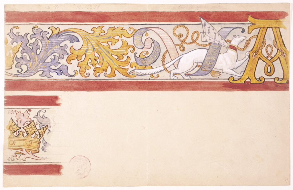 "Recto:  On a squared ground, a polychrome frieze design in two registers (1 is partial), each banded at top and bottom with a thin dark (black/blue/brown) band and thick red band.  Frieze decoration of stylized blue and gold acanthus leaves with a white ermine whose collar bears the arms of Anne of Brittany (1477-1514) and with a blue and pink banderole inscribed in Latin (to be translated) winding through its legs.  The ermine is tied to a large gold, gothic capital letter ""A.""  In second register, partial frieze of stylized acanthus leaves and crown (partial) of Anne of Brittany.    Verso: Over a squared ground,  the heraldic coat of arms of Anne of Brittany with a shield in blue and white surmounted by her crown in red-orange.  Below, an ermine, with a banderole saying ""Anna vie"" winding around its body,  is tied to the shield.  Holding the shield to the left, a kneeling angel in white with red-orange and blue wings and a banderole above with the words ""Te Anna [rest to be translated], kneels on a gold ornamental leaf pattern.  Supporting shield on the right, an orange lion, with a banderole above reads [to be translated]  stands on gold ornamental leaf pattern. Decoration forms a partial circle on the bottom suggesting it was to painted above a circular window or medallion ornament."