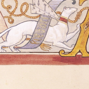 """Recto:  On a squared ground, a polychrome frieze design in two registers (1 is partial), each banded at top and bottom with a thin dark (black/blue/brown) band and thick red band.  Frieze decoration of stylized blue and gold acanthus leaves with a white ermine whose collar bears the arms of Anne of Brittany (1477-1514) and with a blue and pink banderole inscribed in Latin (to be translated) winding through its legs.  The ermine is tied to a large gold, gothic capital letter """"A.""""  In second register, partial frieze of stylized acanthus leaves and crown (partial) of Anne of Brittany.    Verso: Over a squared ground,  the heraldic coat of arms of Anne of Brittany with a shield in blue and white surmounted by her crown in red-orange.  Below, an ermine, with a banderole saying """"Anna vie"""" winding around its body,  is tied to the shield.  Holding the shield to the left, a kneeling angel in white with red-orange and blue wings and a banderole above with the words """"Te Anna [rest to be translated], kneels on a gold ornamental leaf pattern.  Supporting shield on the right, an orange lion, with a banderole above reads [to be translated]  stands on gold ornamental leaf pattern. Decoration forms a partial circle on the bottom suggesting it was to painted above a circular window or medallion ornament."""