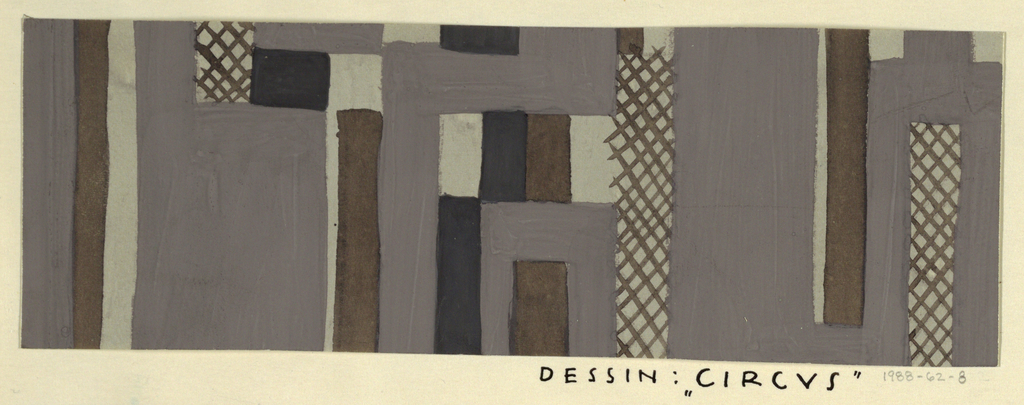 Gray, slate, black, and brown pattern of geometric forms, L-shaped blocks, vertical rectangles, and blocks of crosshatching.