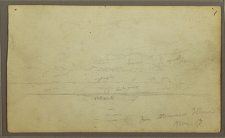Sketch of sunset with color notations written in. Verso: sketches of roof-tops, tops of palm trees, grasses and floating plants.
