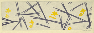 Scattering of blades of grass in dark gray and yellow on white ground.