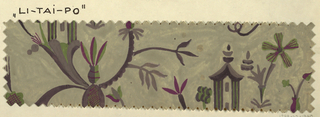 On gray ground, partial view of Chinoiserie design with branching floral and vegetative forms with a pagoda-like building structure in purple and green tones. Pinked edges.
