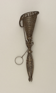 Upper part, a cone with three bands of filigree showing a flower pattern and two, a leaf pattern, silver pin on chain.  Lower part, an ornament of scrolls and flowers above an hexagonal ornament (each side decorated in design of roses with leaves) ending in three leaves; chain with ring attached to central ornament.