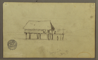 Recto:  Horizontal view of a hut standing on posts in a plain, with a woman shown hanging laundry in a roofless wing, beneath which another is another figure and a third one is seated in the hut.