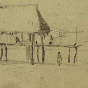Recto:  Horizontal view of a hut standing on posts in a plain, with a woman shown hanging laundry in a roofless wing, beneath which another is another figure and a third one is seated in the hut.  Verso:  a tree