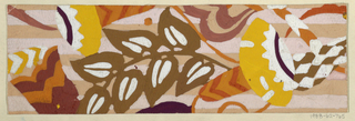 Large pattern of flowers and leaves in yellow, brown, orange, purple on ground of pink and white horizontal stripes.