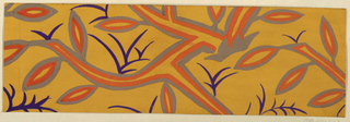 Outlined branches with leaves in gray and orange, and purple sprigs on ochre ground.
