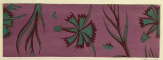 Pattern of floral motifs in maroon and green on purple ground.