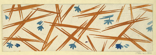 Scattering of blades of grass in ochre and slate on white ground.