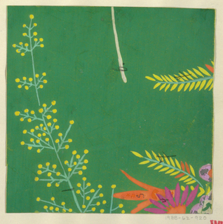 Large floral branch motif in yellow, orange, and pink on green ground.