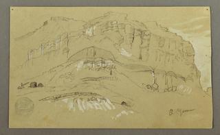 Recto:  Horizontal view of a rock wall  Verso:  Horizontal rough sketch of details of a rock wall