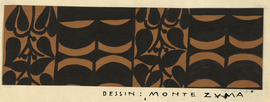 The Monte Zuma textile design consists of rhythmic geometric shapes in the form of alternating curving bands and plant vines in black. This color variation is in brown and black.