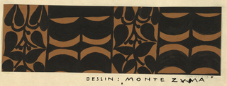 """The """"Montezuma"""" design consists of rhythmic geometric shapes in the form of alternating curving bands and plant vine in black.  The negative space is filled with color, brown in this design."""