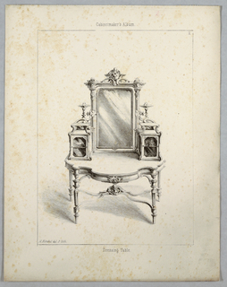 Print, Monthly Cabinet Makers Album: Dressing Table, 1859