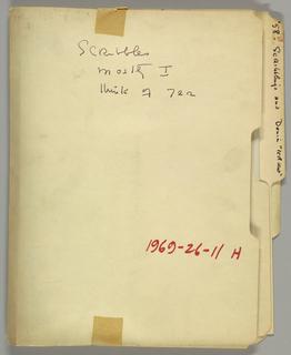 a) tools, looms, and knots. b) motifs. c) breeze designs. d) Drafts by Kitty Morgan. e) Misc. photostats of drafts. f) Oddments – drafts and designs. g) Oddments – Desk and Denia. h) Scribbles. i) To Grace – 1952. j) Missouri Loom Company