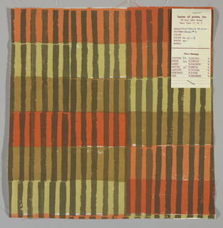 White plain weave hand printed with horizontal bands of tan, orange, red and beige intersected by vertical brown bars. Color no. 6i