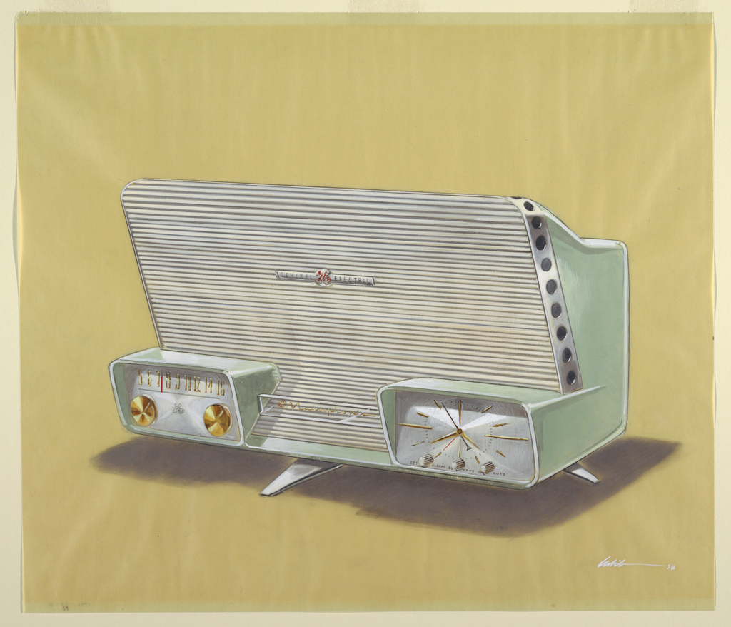 "Prespective drawing of green clock radio featuring towering speaker enclosure, small enclosed tuning dial on left, and small enclosed clock on right.  Features central leg support, possibly a tripod, likely chrome.  Lucite ""Musaphonic"" badge between tuning and clock, and General Electric badge in center of speaker enclosure.  Tuning features two brass knobs.  Clock features three white knobs."