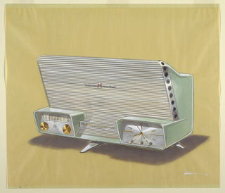"""Prespective drawing of green clock radio featuring towering speaker enclosure, small enclosed tuning dial on left, and small enclosed clock on right.  Features central leg support, possibly a tripod, likely chrome.  Lucite """"Musaphonic"""" badge between tuning and clock, and General Electric badge in center of speaker enclosure.  Tuning features two brass knobs.  Clock features three white knobs."""
