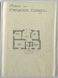 Floor plan of the first floor of the Villa of Monsieur Hempsy at St. Cloud. Function and scale of rooms noted throughout drawing. Behind the floor plan, an abstract floral design.