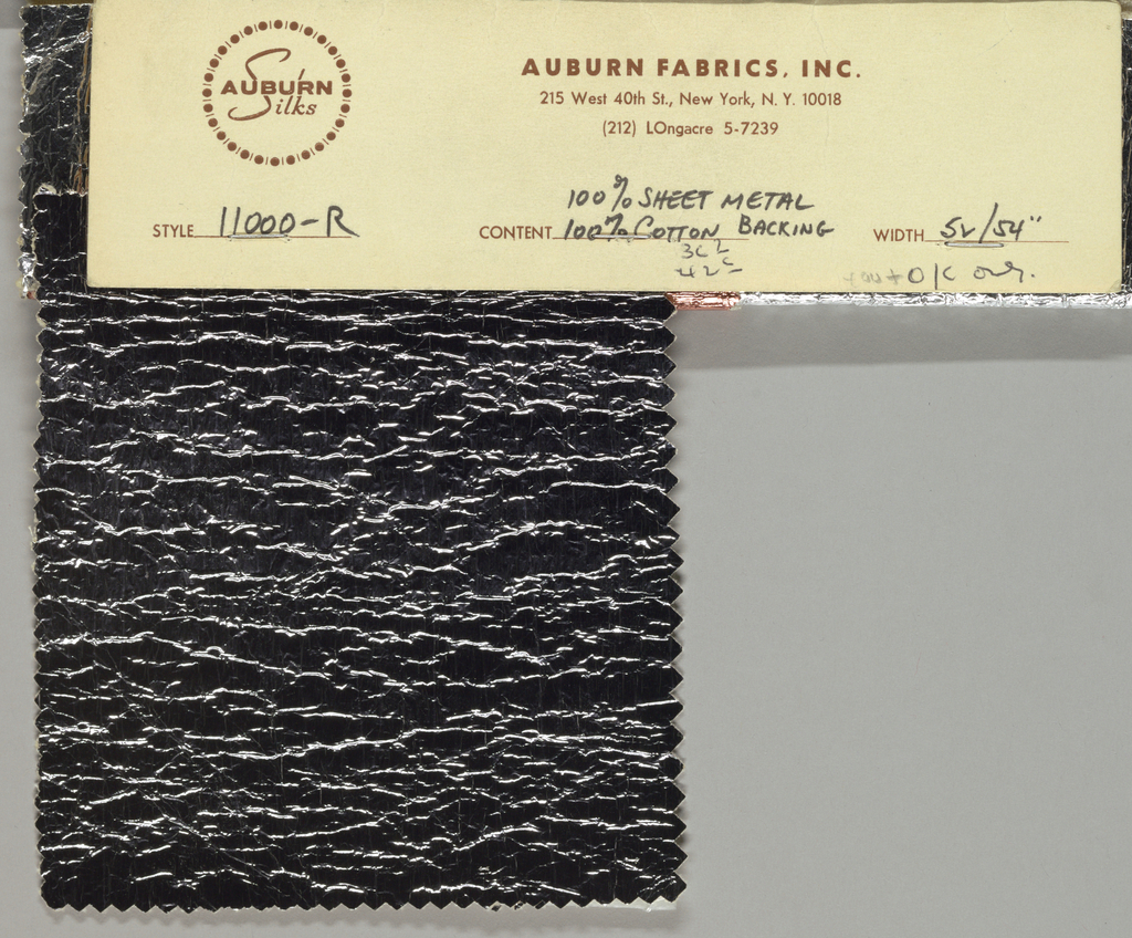 Three samples of silver, grey and copper color sheet metal fabric.  [11000-R]