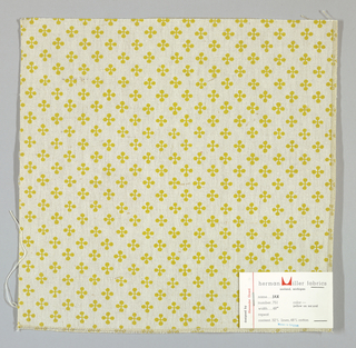 "Off-white plain weave printed with a pattern of intersecting ""barbells"" in dark yellow. Number 751."