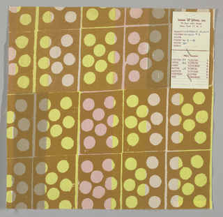 White plain weave hand printed in a pattern of rectangles and circles in yellow, pink, pale pink, grey, and tan. Color no. 2g