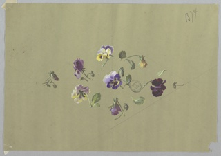 Horizontally-oriented diamond shape made of eight clusters of flowers and foliage at center of page. Seven purple and yellow pansies with foliage form outline, single purple and yellow pansy at center of diamond facing viewer. Guidelines in graphite are visible on the page with the diamond bisected horizontally and vertically.