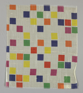 Sheer white plain weave printed with squares of blue, yellow, magenta, green, orange and red.